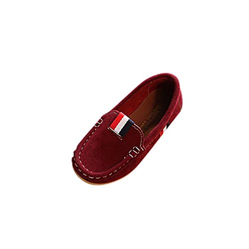 KONFA Toddler Baby Girls Retro Patchwork Leather Shoes,for 1-3.5 Years old,Little Princess Casual Loafer Boots (Wine, 1-1.5 Year old)