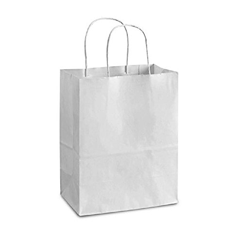 Kraft Twisted Paper - Paper Shopping Bags 10x5x13 Kraft paper bags 10 x 5 x 13 by Amiff. Pack of 25 White Retail bags. Kraft carrier bags with handles for Shopping, Merchandise and Grocery. Strong, Reusable.