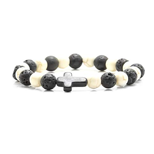 Xusamss Fashion Religion Cross 8MM Lava Beads Elastic Bracelet Bangle,7-8inches (Lava -