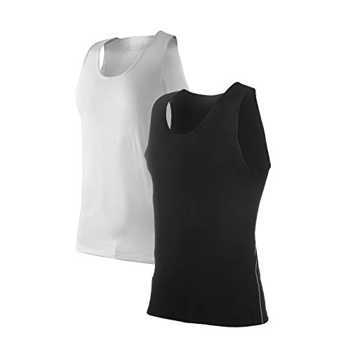 Siboya Men's 2 Pack Sleeveless Muscle Tank Top Athletic Cool Dry Compression Base Layer (Black1,White1, M)