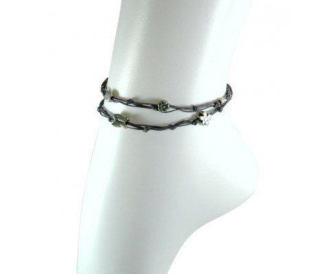 Handmade Denim Blue & Silver Double Wrap Anklet for Good Luck - 10.5'' by MIZZE Made for Luck (Image #6)