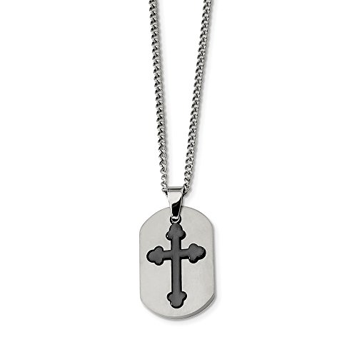 ICE CARATS Titanium Black Plated Moveable Cross Religious 22 Inch Chain Necklace Man Pendant Charm Crucifix Fashion Jewelry Gift for Dad Mens for Him