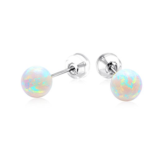 18K White Gold Earrings for Girls, Simulated Opal Earrings for Children Kids (white-gold) (18k White Gold Earing)