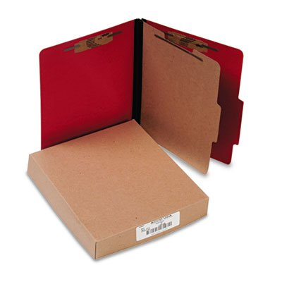 Presstex Classification Folders, Letter, Four-Section, Executive Red, 10/Box, Sold as 10 Each (Folder Classification Recycled Presstex)