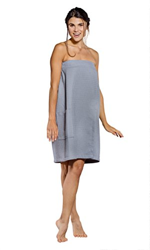 Turquaz Linen Lightweight Knee Length Spa/Bath Waffle Body Wrap with Adjustable Hook-and-Loop Tape (Large, Gray)