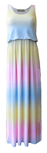 Maxi RAINBOW New Long Party PRINT Women Sleeveless Summer Ball Dress Ladies Puff Printed PSPxwzfq