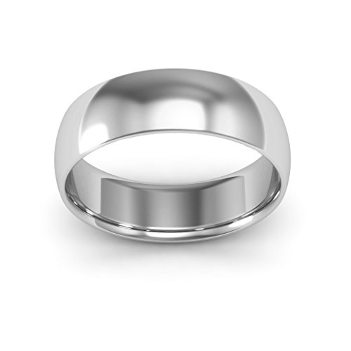 18K White Gold men's and women's plain wedding bands 6mm comfort-fit light, 10.5 by i Wedding Band (Image #3)
