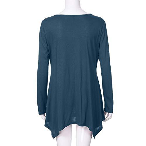 Forti Casual Colore Premaman Sciolto Leey Pullover e Eleganti Tops Taglie Magliette Lunga Felpa Bluse Puro da Manica donna Blu V Donna notte T Camicie da Zip Shirt Scollo AxUn4x