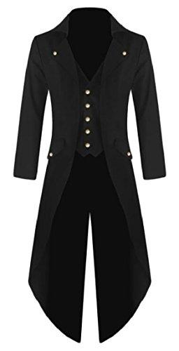 Yayu Mens Dovetail Creative Long Sleeve Button up Blazer Jacket Halloween Costume Black L