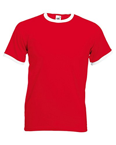 Fruit of the Loom Men's Ringer T Shirt XX-Large Red/White (Tee Ringer Fruit Of The Loom)