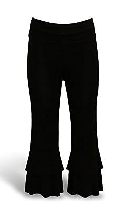 Ladies Ruffle Capri Knit Palazzo Yoga Pants Fold Over Waist
