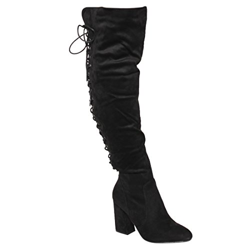 Side Laces Zipper (Beston FM30 Women's Lace Up Side Zipper Over Knee High Boots Half Size Small, Color Black, Size:8)