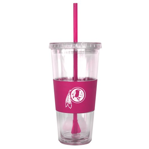 NFL Washington Redskins Pink Tumbler with Straw, 22-Ounce