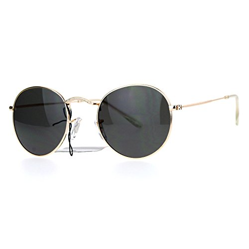 SA106 Vintage Style 90s Snug Fit Oval Round Metal Sunglasses Gold - Round Style Sunglasses 90s