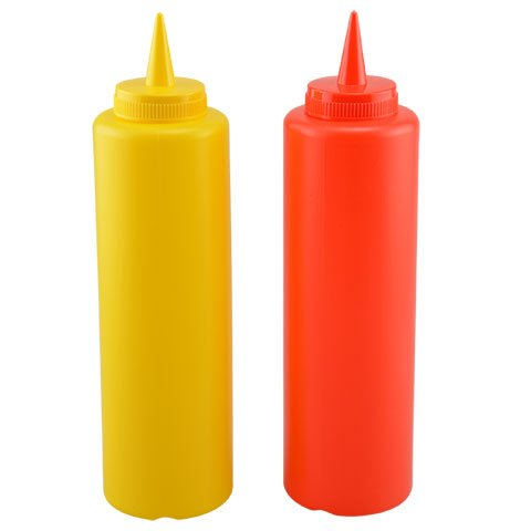 Ketchup and Mustard Plastic Squeeze Condiment Bottles W/ Lids For BBQ, Kitchen, Picnic - 2-Pack 16 Ounce