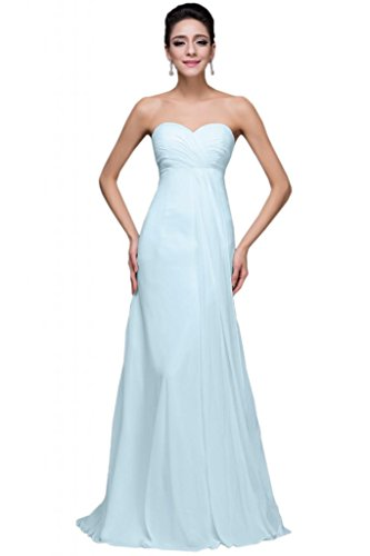 Sunvary Chiffon Sweetheart Open Back 2015 donne lungo damigella d' onore Prom Gowns Light Sky Blue 52