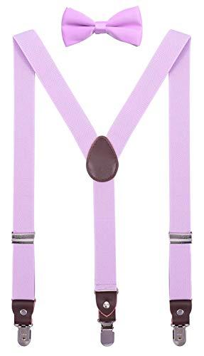 CEAJOO Big Boys' Suspenders and Bow Tie Set Genuine Leather 40