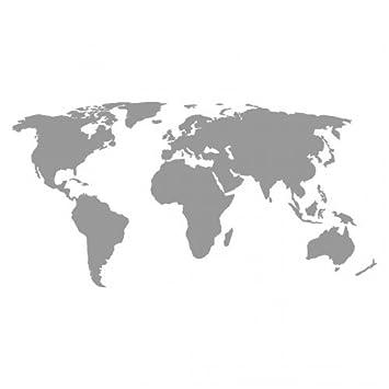 weltkarte grau Skyline4u Weltkarte Aufkleber in 5 Größen und 25 Farben (40x20cm  weltkarte grau