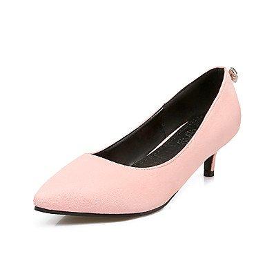 Talones de las mujeres Primavera Verano Otoño Invierno Club de los zapatos de microfibra oficina y carrera del partido y vestido de noche bajo el talón RhinestoneBlack Rosa Gris Beige