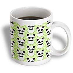 3dRose Cute Panda Bear with Lime Green Polka Dots Mug, 11-Ounce