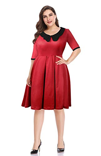 Pinup Fashion Women's Vintage Half Sleeve Peter Pan Collar Plus Size Cocktail Party Swing Dresses Black 20W -