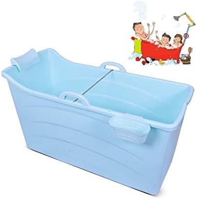 折りたたみバスタブ GYF 折りたたみ大人用浴槽 ポータブルプラスチック浴槽 座るカバー付き ホームアダルト 子供用入浴浴槽ベビースイミングビッグタブ 2色ホーム折りたたみ大人用バスタブ (Color : Blue)