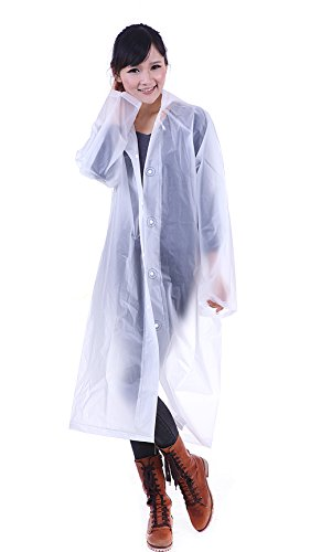 Aircee (TM) Lightweight Easy Carry Poncho Wind Hooded Jacket Raincoat (White) (Rain Long Jacket compare prices)