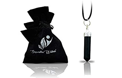 Natural Black Tourmaline Crystal Healing Necklace - for Root Chakra |  Dispels Negative Energy | Guard Against Environmental Pollutants | Natural