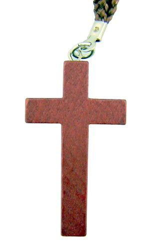 Religious Gift 1 3/4 Inch Natural Cherry Wood Brown Christian Latin Cross on 30 Inch Rope Cord