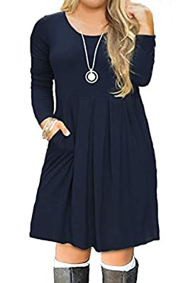 FOLUNSI Women's Plus Size Casual Long Sleeve Pleated T Shirt Dress with Pockets