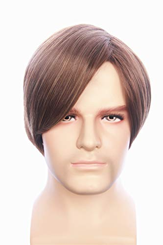fbewig:Leon Wig Inspired of Movie Resident Evil Short Brown Straight highlights Thick Hair for Adults and Teens
