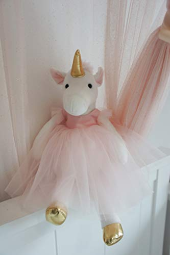 Inspired by Jewel Ella The Unicorn Premium Quality Stuffed White Unicorn Plush Doll with Golden Horn, Hooves & Flowing Pink Mane & Soft Tail | Playable Toy with Movable Legs with Huggable Arms ()