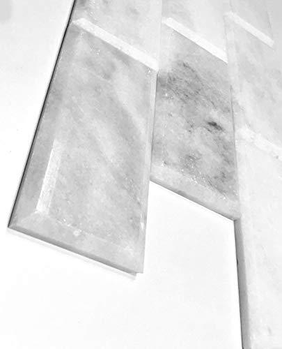3x6 Beveled Polished White Carrara Subway Marble Tiles ONE