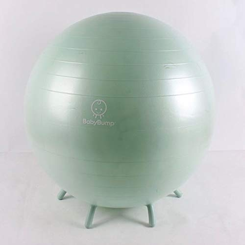 Baby Bump Birth Ball with Base Legs - Stability/Balance/Stand - Anti-burst - Pump - Exercise during Pregnancy - Prenatal Fitness - Induces Labor - Soothes Babies - Yoga Moms - Cute Practical Best Baby Shower Gift - 65 cm - Peapod Green