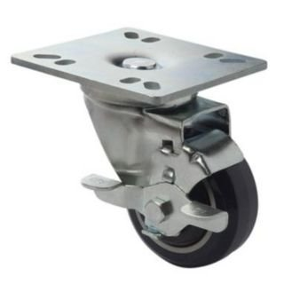 Focus Foodservice FPCST3 Set of 4 - 3 in. plate casters with brakes. 4 in. square plate by Focus Foodservice
