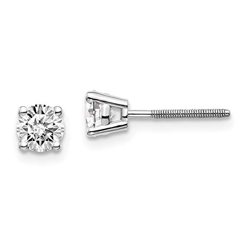 14kw .70ct SI3 G-I Diamond Stud Thread on/off Post Earrings, 14 kt White Gold