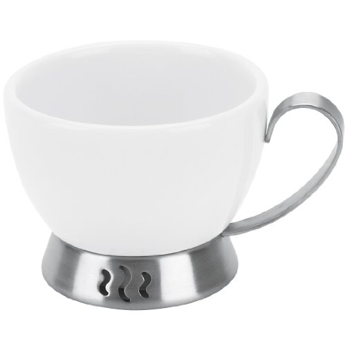 Trudeau Bianca 3-Ounce Espresso Cup, White Porcelain and Stainless Steel