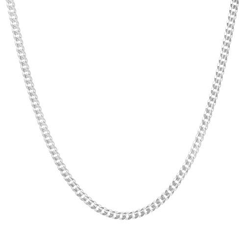 "Authentic Solid Sterling Silver Cuban Curb Link .925 ITProLux Necklace Chains 2MM - 10.5MM, 16"" - 30"", Made In Italy, Men & Women, Next Level Jewelry (2MM,18)"
