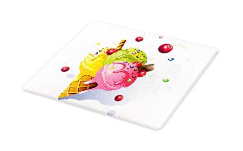 Lunarable Colorful Cutting Board, Delicious Tasty Ice Cream