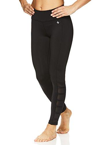 Nicole Miller Active Women's 7/8 Workout Leggings Performance Activewear Pants w/Elastic Inserts – Black Shiny, Medium