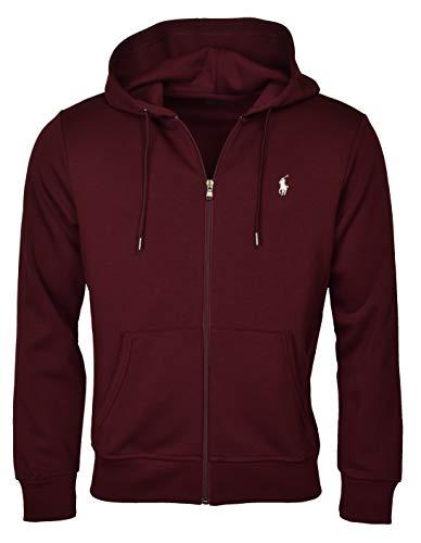 Polo Ralph Lauren Men's Double-Knit Full-Zip Hooded Sweatshirt - L - Classic Wine (Fleece Mens Lauren Ralph)