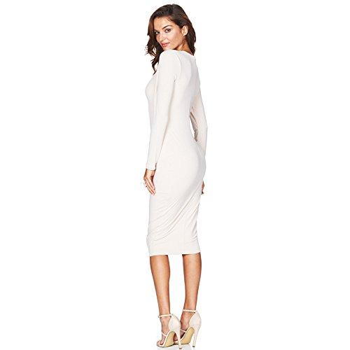 Longwu Cóctel V profundo atractivo de Bodycon del vestido de la manga larga de las mujeres falda del vendaje Blanco lechos