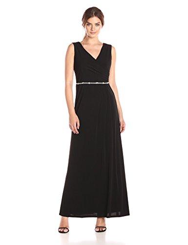 - ELLEN TRACY Women's Jersey Gown with Rhinestone Belt, Black 6