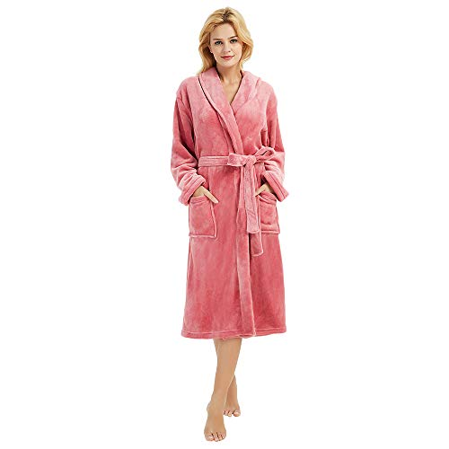 M&M Mymoon Womens Fleece Robe Soft Plush Bathrobe Long Thicken Warm Kimono Shawl Collar One Piece Homewear (L/XL, Coral Pink)