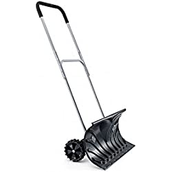 Useful. UH-SP217 Rolling Snow Pusher Shovel with Wheels and Adjustable Length W/ 26' Blade