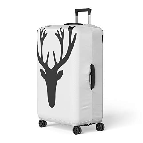 9783413b281d Pinbeam Luggage Cover Reindeer of Deer Head Silhouette White Stag Antler  Travel Suitcase Cover Protector Baggage Case Fits 22-24 inches