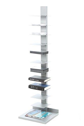 Accent Shelves Bookcase, 11 Shelves for Books DVDs or CDs Storage, Durable and Long Lasting Metal Construction, Ample Storage and Display Space, Powder Coated Silver Finish ()