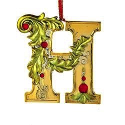 a464400dfa2fc Amazon.com   Gold Initial Ornament w Holly on Red Ribbon Hanger ...