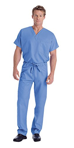 Medical Scrub Landau - Landau Unisex V-Neck Scrub Top 7502 & Scrub Pant 7602 Medical Uniform Scrub Set (Ceil Blue - Medium)