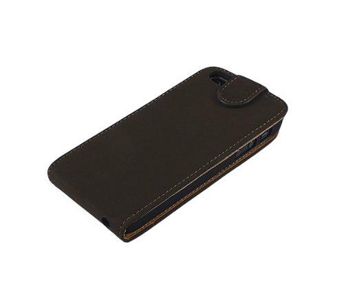 Xcessor Portfolio Flip Étui Coque Housse Pour Apple iPhone SE / 5 / 5S. Simili Cuir - Leather PU. Marron